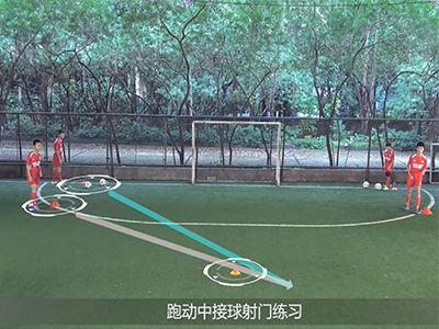 跑动中接球射门练习,孩教圈